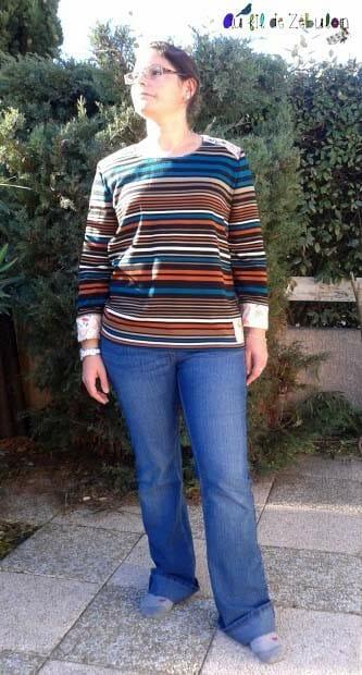 un autre pull en maille colorées