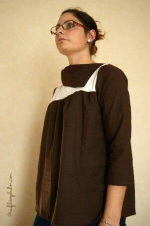 blouse col asymétrique sur mesure AuFildeZebulon